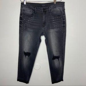 Kancan distressed studded skinny grey jeans 31
